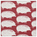 Vintage White Pigs Funny Old Fashioned Bacon Lover Fabric