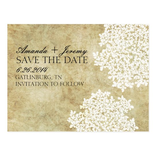 Vintage White Queen Anne's Lace Save the Date Postcard