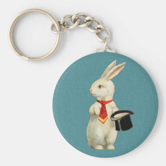 Vintage White Rabbit Key Ring