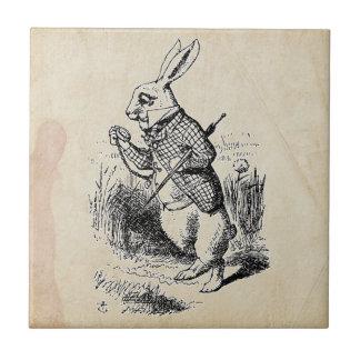 Vintage White Rabbit Small Square Tile
