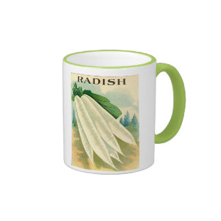 vintage white radish seed packet mug