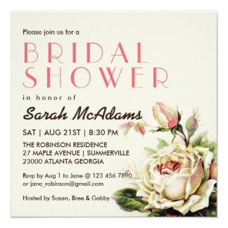 Vintage White Rose Bridal Shower Invitation