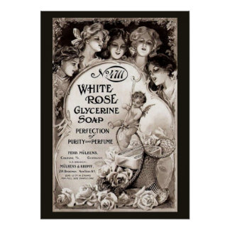 Vintage White Rose Soap Advertisement Poster
