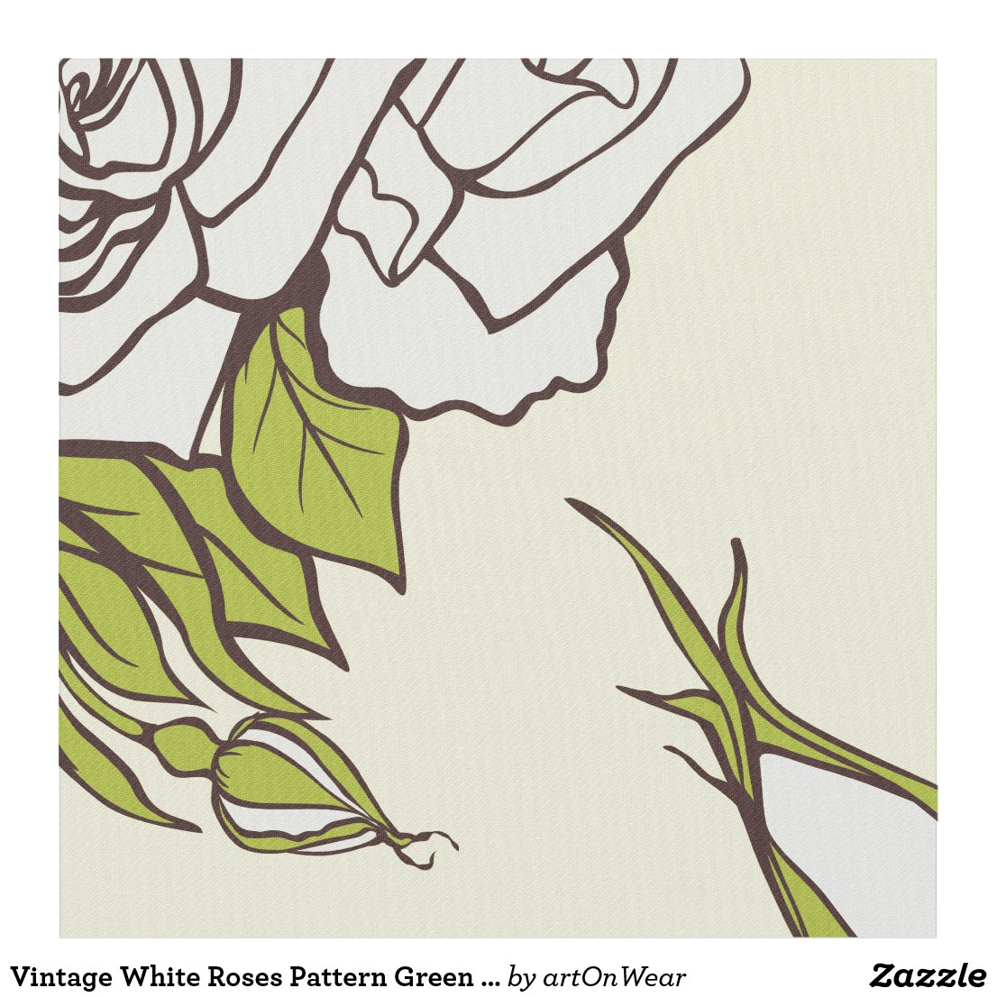 Vintage White Roses Pattern Green Accents
