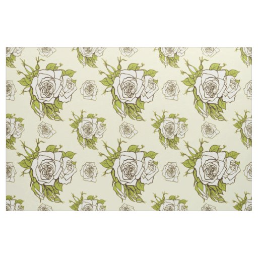 Vintage White Roses Pattern Green Accents Fabric