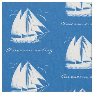 Vintage white sailboat nautical fabric