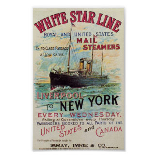 Vintage White Star Line Travel Poster