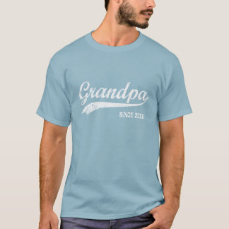 Vintage White Text Grandpa Since [year] T-shirt