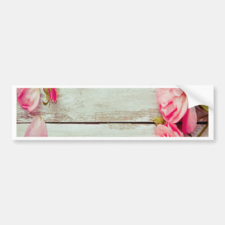 vintage white wood wall pink roses, shabby chic car bumper sticker