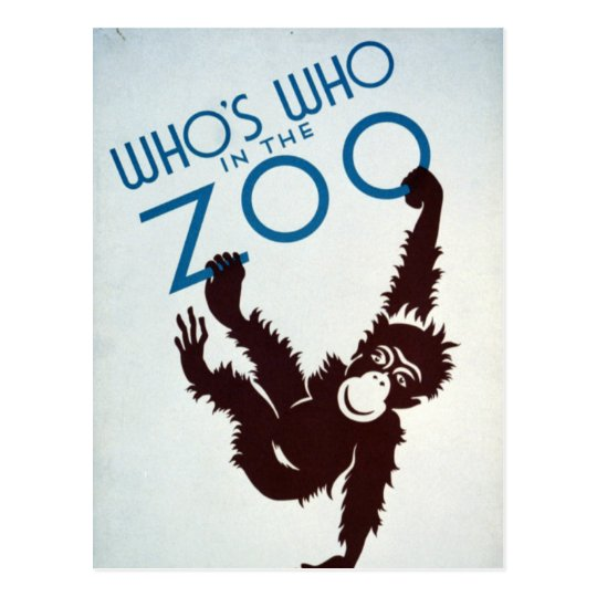Vintage Whos Who in the Zoo Monkey Postcard