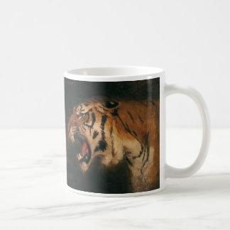 Vintage Wild Animal, Bengal Tiger Roar Roaring Basic White Mug