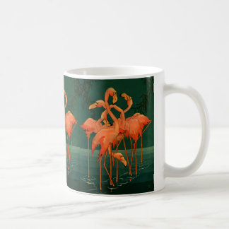 Vintage Wild Animal Birds, Tropical Pink Flamingos Basic White Mug