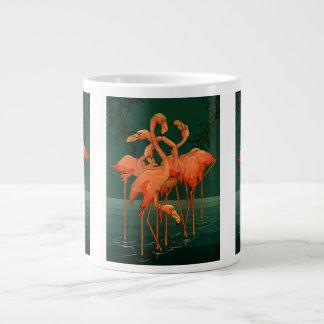 Vintage Wild Animal Birds, Tropical Pink Flamingos Giant Coffee Mug