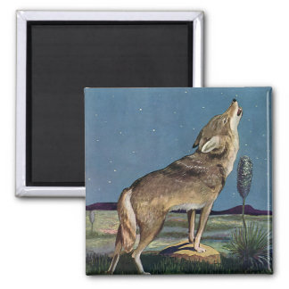 Vintage Wild Animal, Wolf Howling at the Moon Square Magnet
