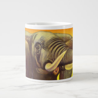 Vintage Wild Animals, African Elephant with Sunset Jumbo Mug