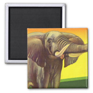 Vintage Wild Animals, African Elephant with Sunset Square Magnet