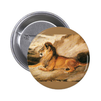 Vintage Wild Animals, African Lion on the Savannah 6 Cm Round Badge