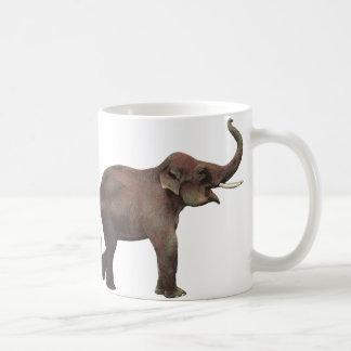 Vintage Wild Animals, Asian Elephant, Good Luck Basic White Mug