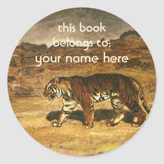 Vintage Wild Animals, Bengal Tiger Bookplate Round Sticker