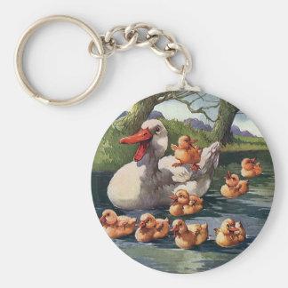 Vintage Wild Animals Birds Duck Ducklings Family Key Chain
