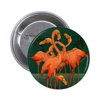 Vintage Wild Animals Birds, Pink Flamingos Tropics 6 Cm Round Badge