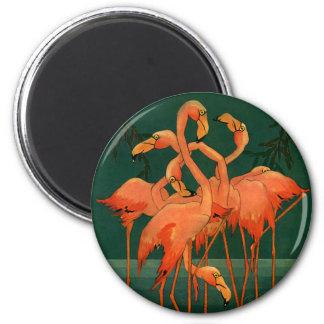 Vintage Wild Animals Birds, Pink Flamingos Tropics 6 Cm Round Magnet