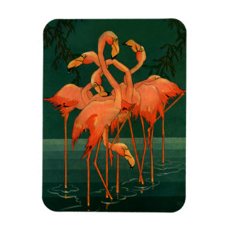 Vintage Wild Animals Birds, Pink Flamingos Tropics Rectangular Photo Magnet