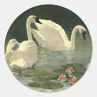 Vintage Wild Animals Birds, Victorian White Swans Round Sticker