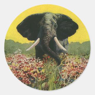 Vintage Wild Animals, Cobra Snake African Elephant Round Sticker