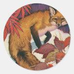 Vintage Wild Animals, Forest Creature, Red Fox Sticker