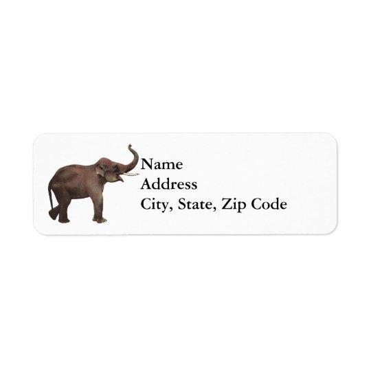 Vintage Wild Animals, Good Luck Asian Elephants Return Address Label