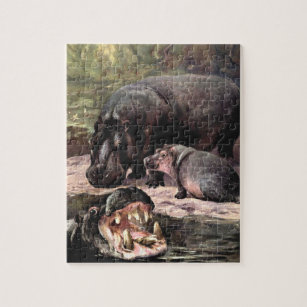 WPA Poster Older Kid Easy Adult Jigsaw Puzzle Philly Zoo Hippo