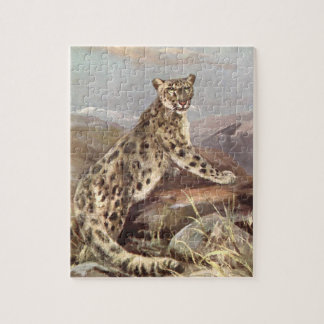 Vintage Wild Animals, Snow Leopard by CE Swan Jigsaw Puzzle