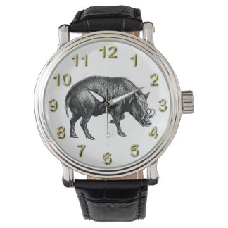 Vintage Wild Boar Drawing BW Watch