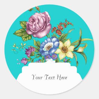 Vintage Wild Flowers Classic Round Sticker
