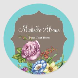 Vintage Wild Flowers Round Sticker