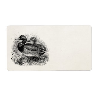 Vintage Wild Mallard Ducks Personalized Template Shipping Label