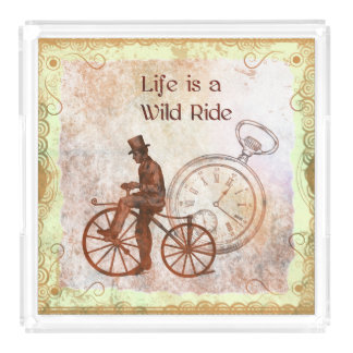 Vintage Wild Ride Steampunk Bicycle Collage Acrylic Tray