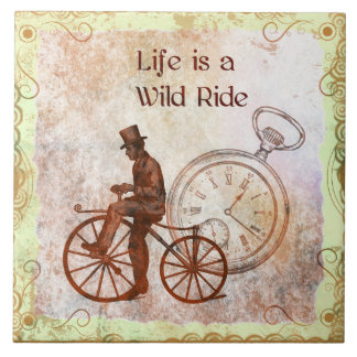 Vintage Wild Ride Steampunk Bicycle Collage Tile