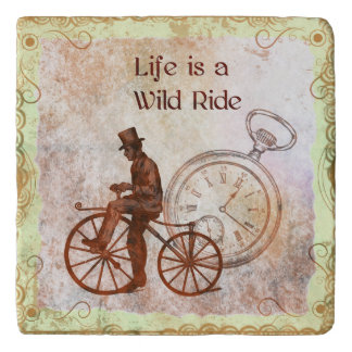 Vintage Wild Ride Steampunk Bicycle Collage Trivet