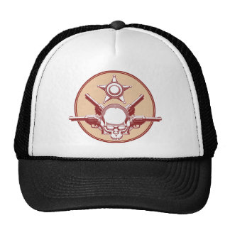 Vintage Wild West Skull, Revolver & Sheriff Badge Mesh Hat