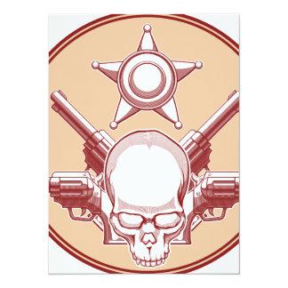"Vintage Wild West Skull, Revolver & Sheriff Badge 5.5"" X 7.5"" Invitation Card"