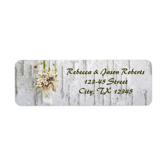 vintage wildflower birch trees country wedding return address label