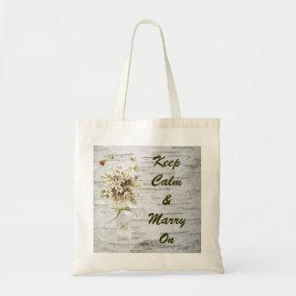 vintage wildflower floral bridal country wedding tote bag