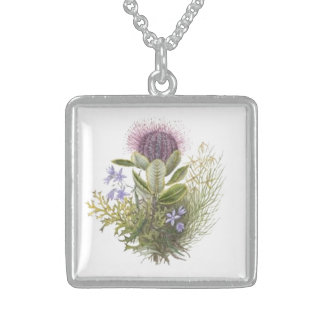 Vintage Wildflowers Thistle Necklace