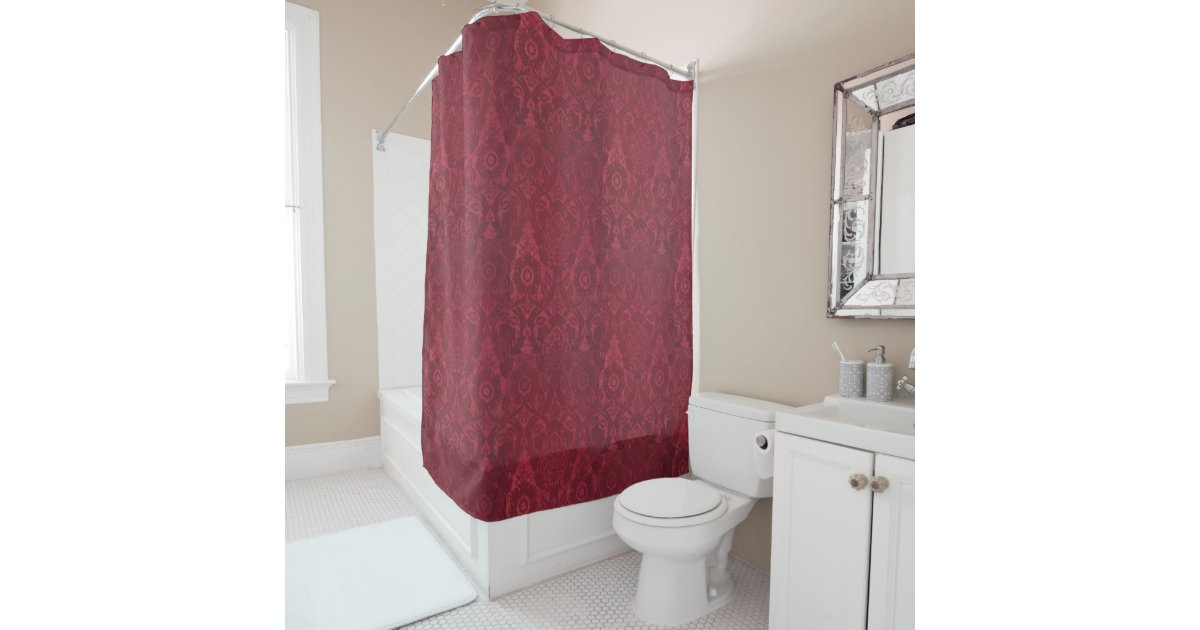 Vintage William Morris Acorn Embossed Velvet Shower Curtain