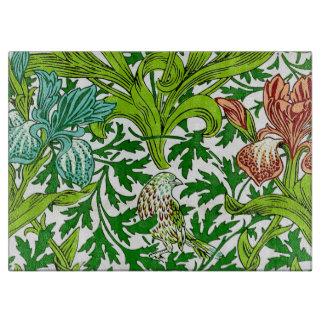 Vintage William Morris Iris Bird Floral Pattern Cutting Boards