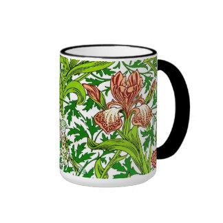 Vintage William Morris Iris Bird Floral Pattern Ringer Mug