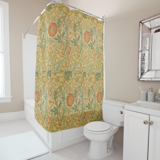 Vintage William Morris Pink And Rose Shower Curtain