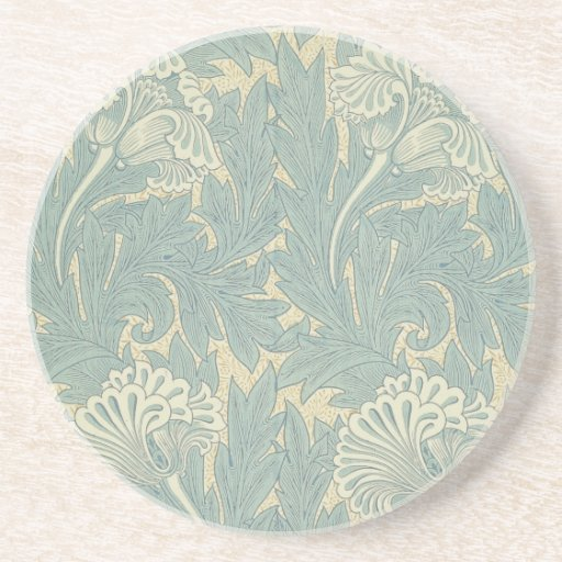 Vintage William Morris Tulip Floral Design Drink Coaster